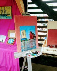 Jakobus Durstewitz, painting, harbour, Dockville, Festival, Hamburg, Pop, Wilhelmsburg, Openair, music