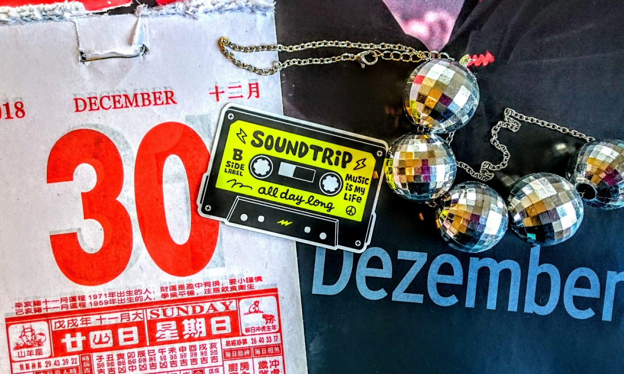 Biggy Pop, annual review, Jahresrückblick, 2018, calendar, mirrorball, discokugel, sticker, b-side-label, tape, december