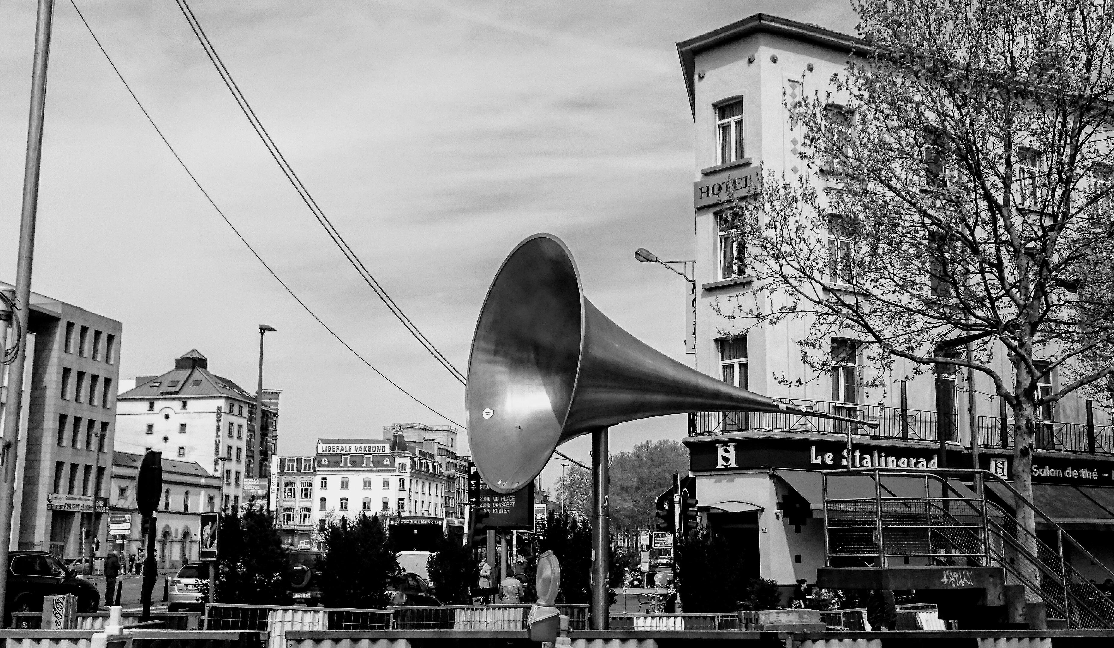 Pasionaria, Brussels, megaphone, art, sculpture, Avenue Stalingrad, Belgium, sound