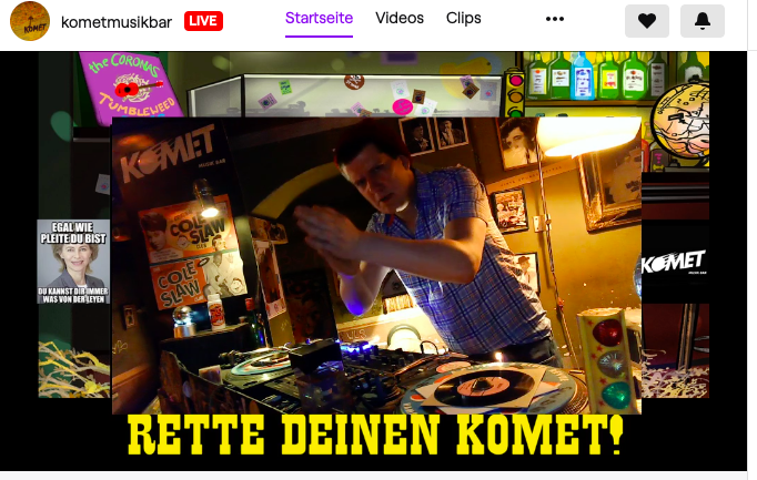 Komet, Musikbar, Hamburg, Twitch, Streaming, Juni 2020, Corona
