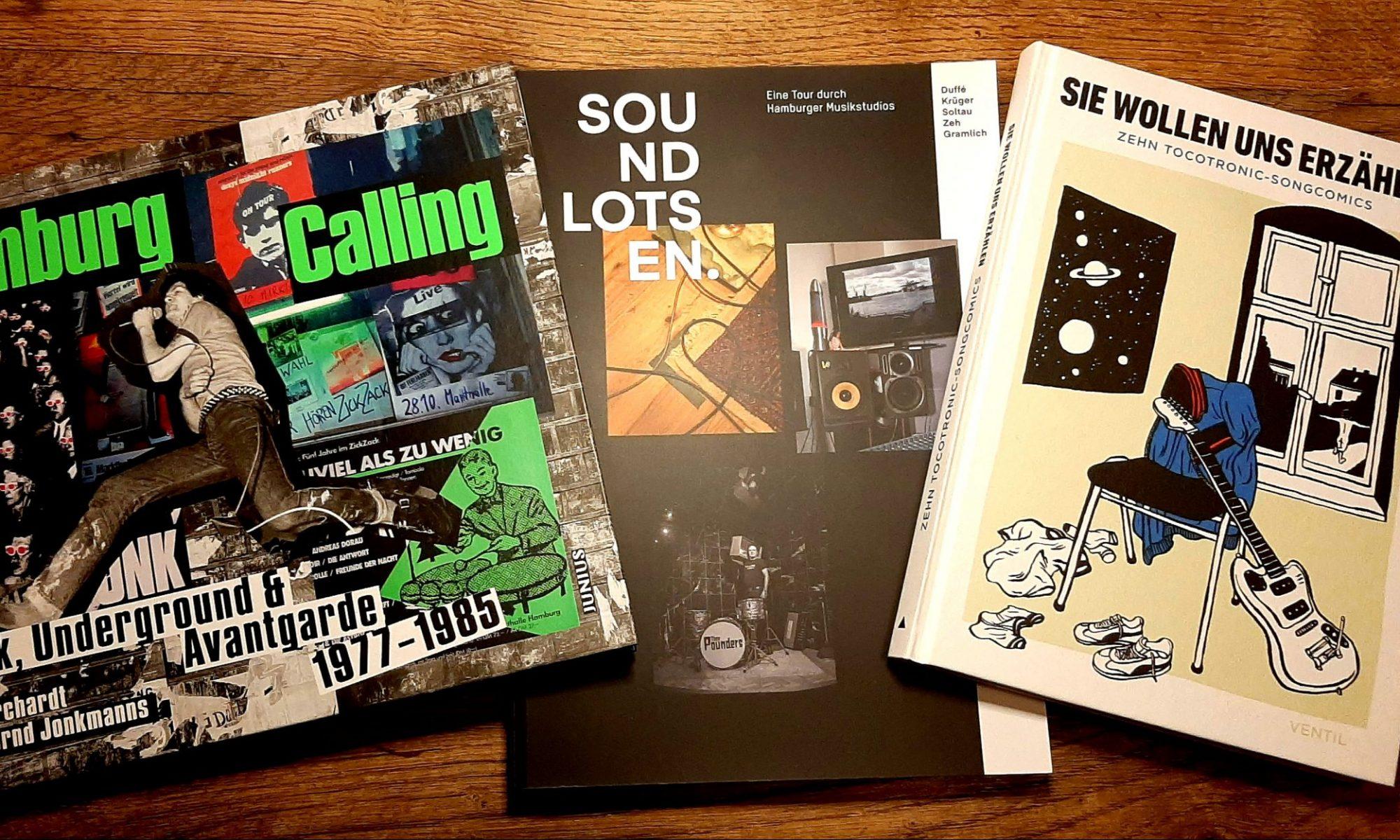 Buchcover, Musikbücher, Hamburg Calling, Soundlotsen, Tocotronic, Sie wollen uns erzählen, Songcomics, Junius Verlag, Ventil Verlag, Copasetic